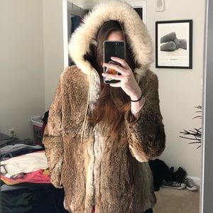 Hooded vintage fur coat